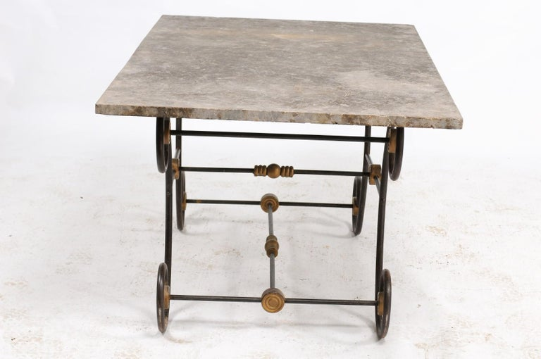 French Baker's Table with Slate Top, Iron and Brass Base, Late 19th Century In Good Condition For Sale In Atlanta, GA