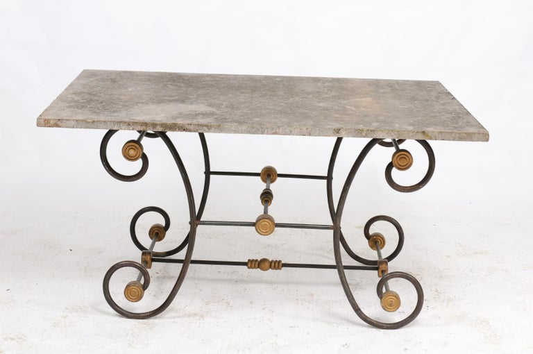 French Baker's Table with Slate Top, Iron and Brass Base, Late 19th Century For Sale 1