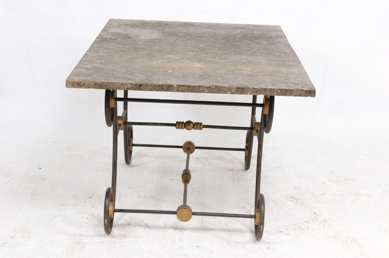 French Baker's Table with Slate Top, Iron and Brass Base, Late 19th Century For Sale 3