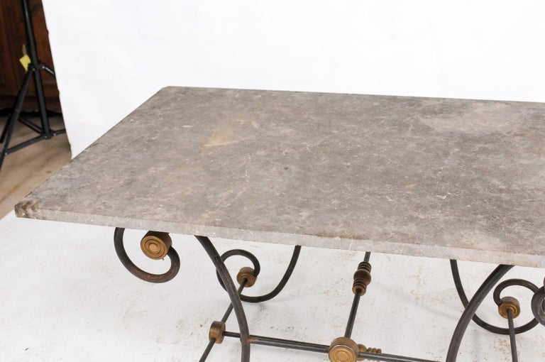 French Baker's Table with Slate Top, Iron and Brass Base, Late 19th Century For Sale 4