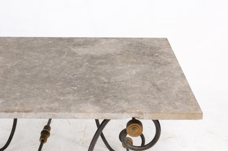 French Baker's Table with Slate Top, Iron and Brass Base, Late 19th Century For Sale 5