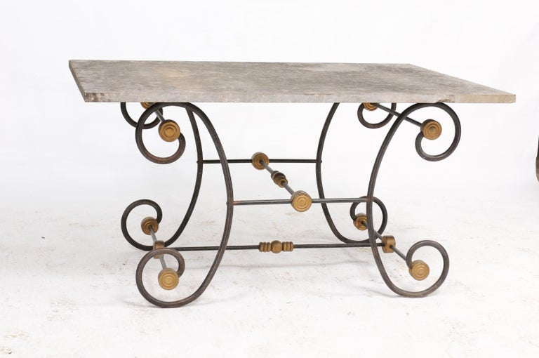 French Baker's Table with Slate Top, Iron and Brass Base, Late 19th Century For Sale 6