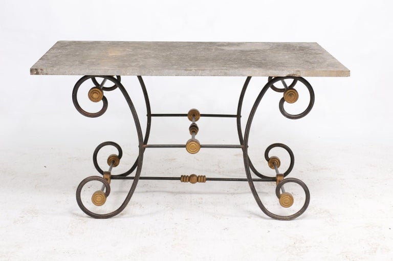French Baker's Table with Slate Top, Iron and Brass Base, Late 19th Century For Sale 7