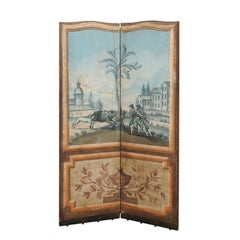 French 18th Century Wood and Fabric Folding Screen with Hand-Painted Scenes