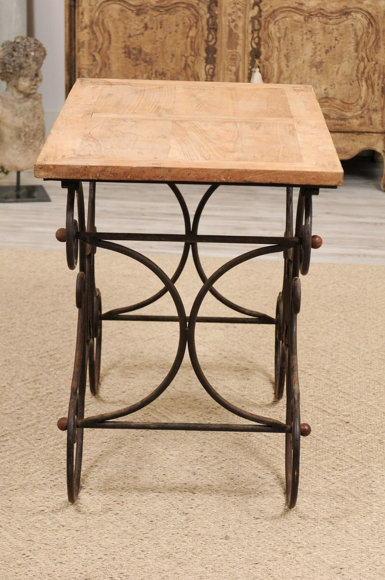 French Butcher Table with Scrolled Iron Base and Wooden Top, Late 19th Century For Sale 6