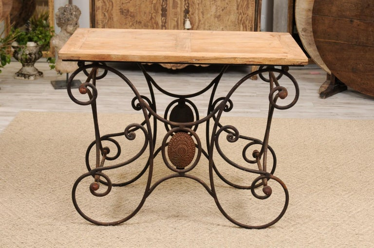 French Butcher Table with Scrolled Iron Base and Wooden Top, Late 19th Century For Sale 1
