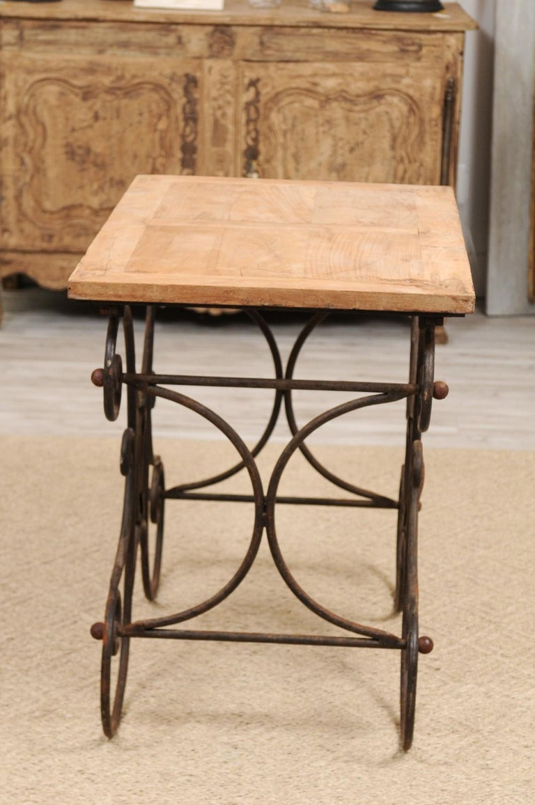 French Butcher Table with Scrolled Iron Base and Wooden Top, Late 19th Century For Sale 5