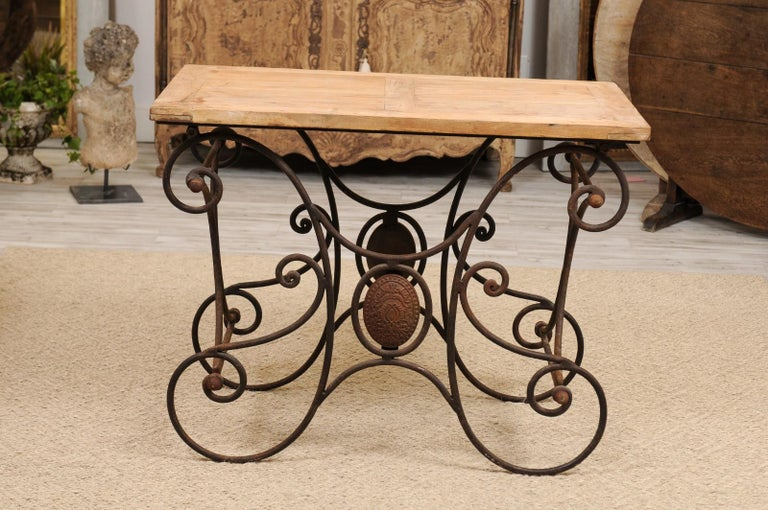 French Butcher Table with Scrolled Iron Base and Wooden Top, Late 19th Century For Sale 8