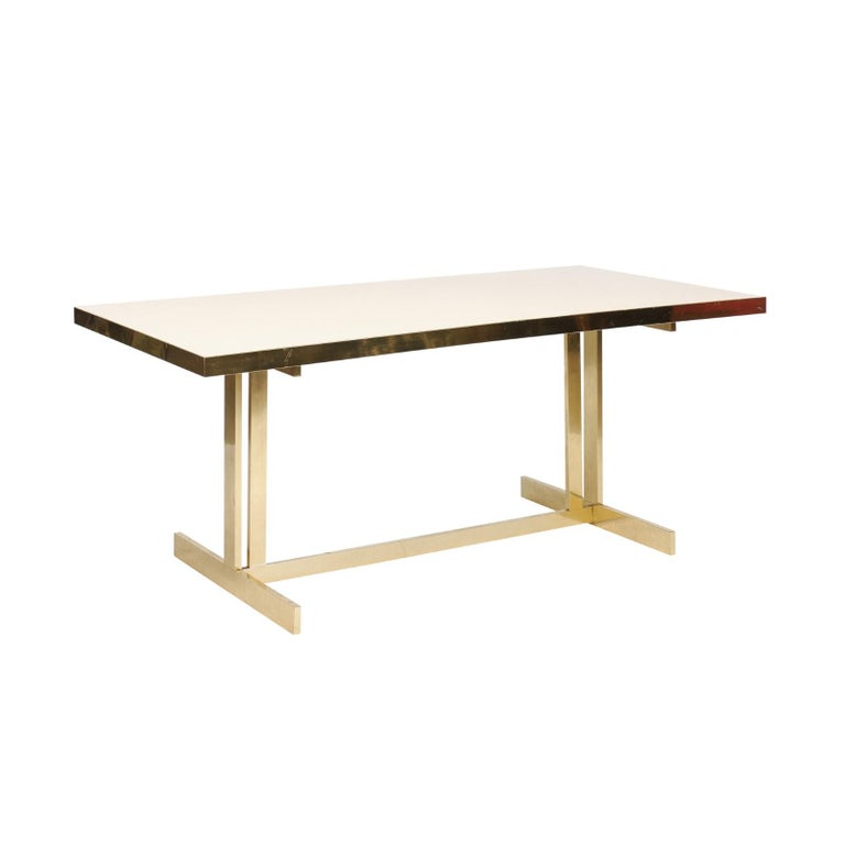 Italian Vintage Mid-Century Modern Formica Dining Table with Brass Trestle Base For Sale