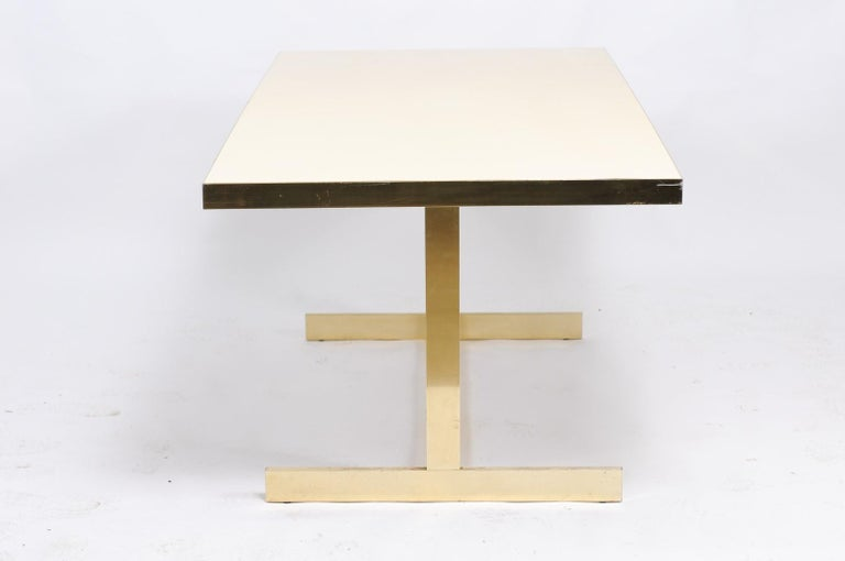 20th Century Italian Vintage Mid-Century Modern Formica Dining Table with Brass Trestle Base For Sale
