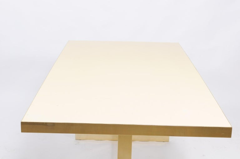 Italian Vintage Mid-Century Modern Formica Dining Table with Brass Trestle Base For Sale 2