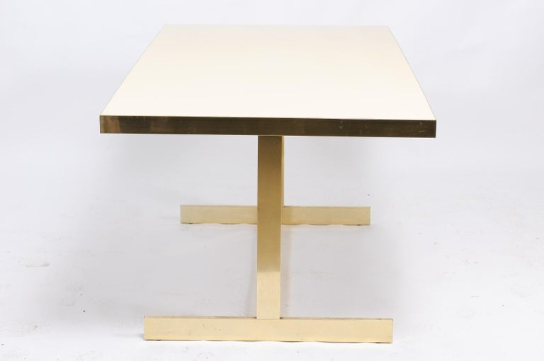 Italian Vintage Mid-Century Modern Formica Dining Table with Brass Trestle Base For Sale 3