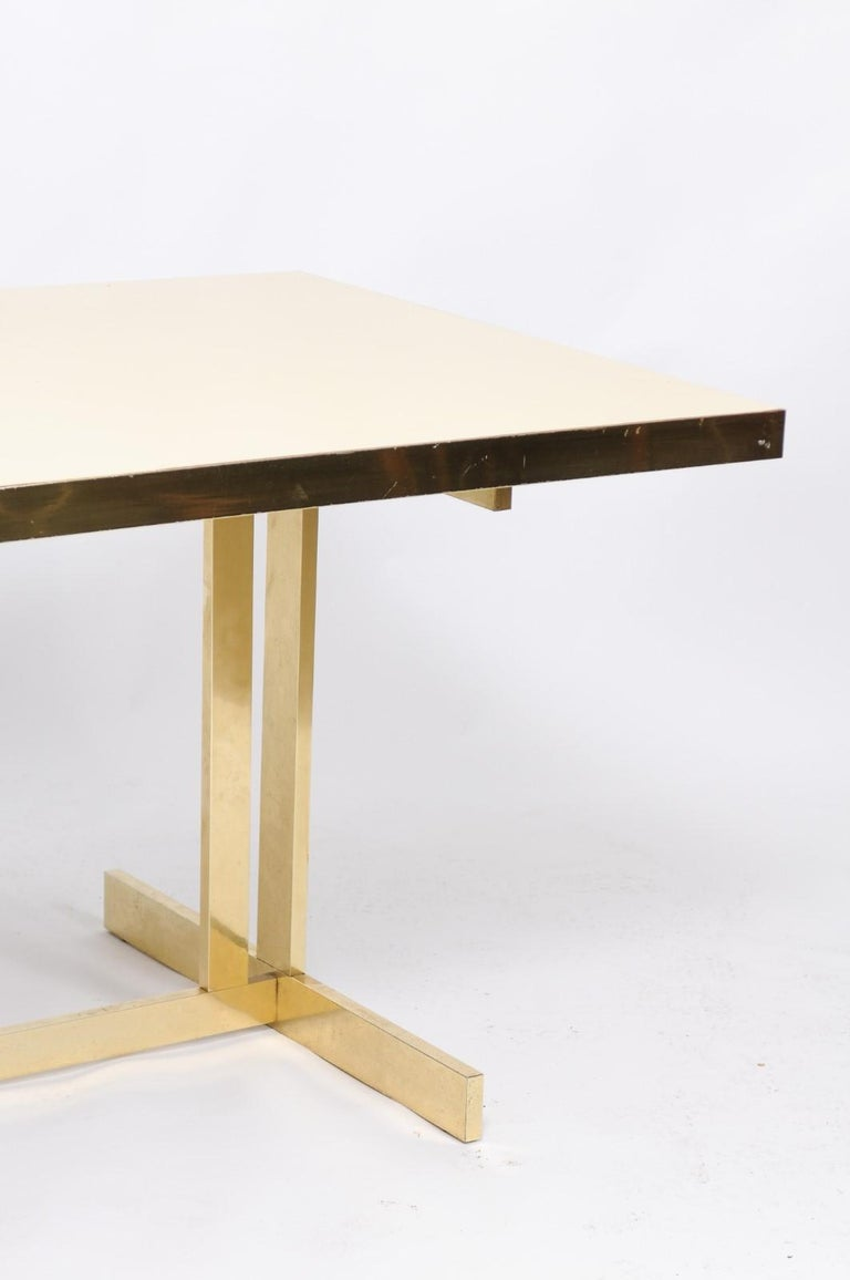 Italian Vintage Mid-Century Modern Formica Dining Table with Brass Trestle Base For Sale 4