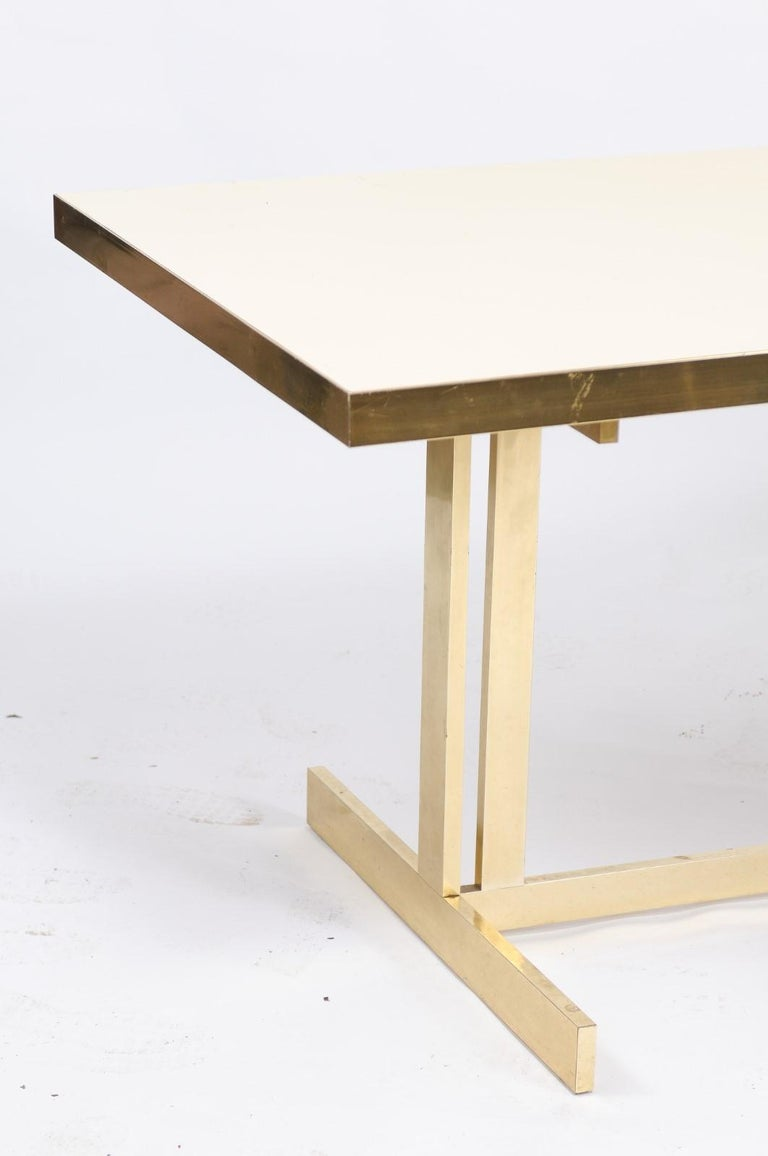Italian Vintage Mid-Century Modern Formica Dining Table with Brass Trestle Base For Sale 5