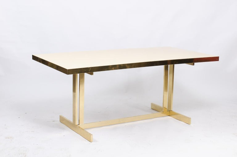 Italian Vintage Mid-Century Modern Formica Dining Table with Brass Trestle Base For Sale 6