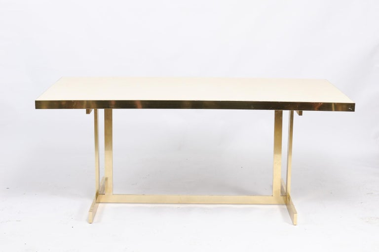 Italian Vintage Mid-Century Modern Formica Dining Table with Brass Trestle Base For Sale 7