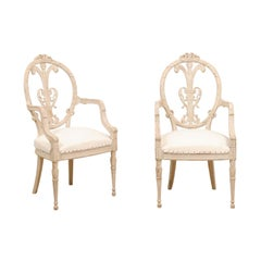 Pair of French Louis XVI Style White Painted Oval Back Armchairs with Upholstery