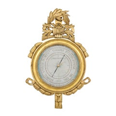French Louis XVI Style Giltwood Barometer with Foliage Carved Crest, circa 1880