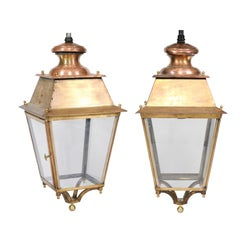 Pair of French Copper and Plexiglass Lanterns with Brass Accents from the 1920s