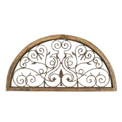 Continental Wrought Iron and Pine Demi-Lune Architectural Wall Panel, circa 1900