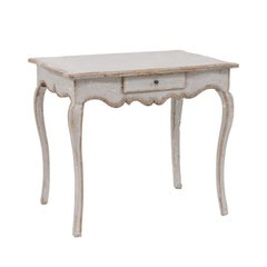 French Louis XV Style Grey Painted Pine Table with Single Drawer, circa 1880