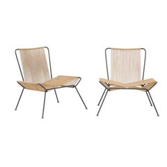 Pair of Vintage 1950s Allan Gould Style Butterfly-Shaped String and Iron Chairs