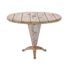 French Rustic Garden Table with Reclaimed Wood and Philippe Starck Style Base
