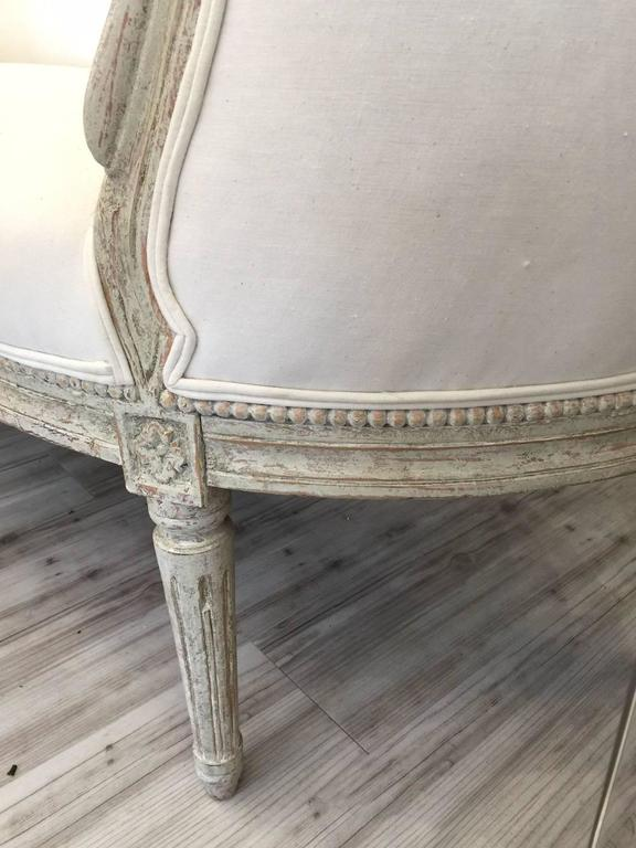 19th Century Swedish Louis XVI Style Painted Wood Upholstered Settee For Sale 5