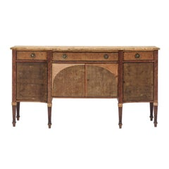 French, 1920s, Neoclassical Style Serpentine Front Sideboard with Stripped Wood