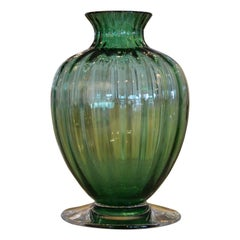 Mid Century Modern Signed Baccarat Emerald Green Crystal Ribbed Baluster Vase
