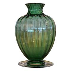 Mid Century Modern Baccarat Emerald Green Crystal Ribbed Baluster Form Vase