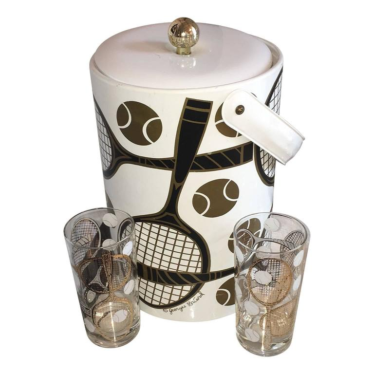 """Mid Century Modern Georges Briard Set of Signed """"Tennis"""" Ice Bucket & 2 Glasses"""