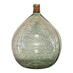 Mid Century Modern Argentine Handblown Light Green Glass Demijohn Wine Bottle
