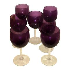 S/7 Mid-Century Modern Fostoria Crystal Goblets in a Deep Purple