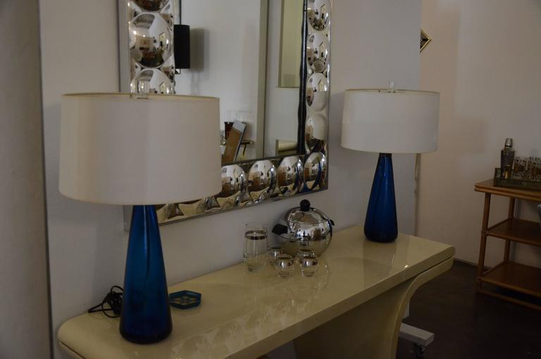 Mid-Century Modern Venini Pair of Blue Italian Murano Glass Table Lamps In Good Condition For Sale In Houston, TX