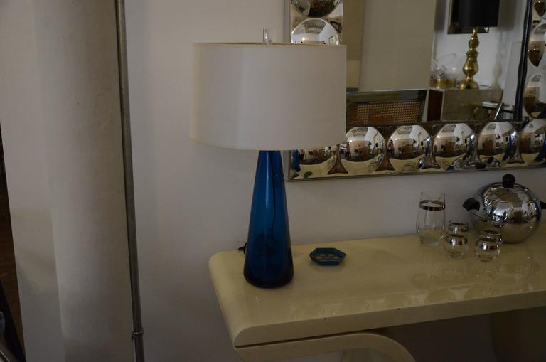 Mid-Century Modern Venini Pair of Blue Italian Murano Glass Table Lamps For Sale 5