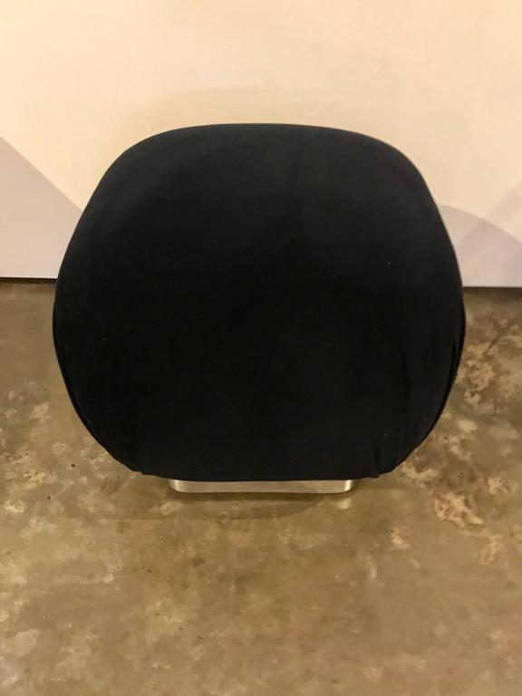 American Karl Springer Style Mid-Century Modern / Hollywood Glam New Velvet & Chrome Pouf For Sale