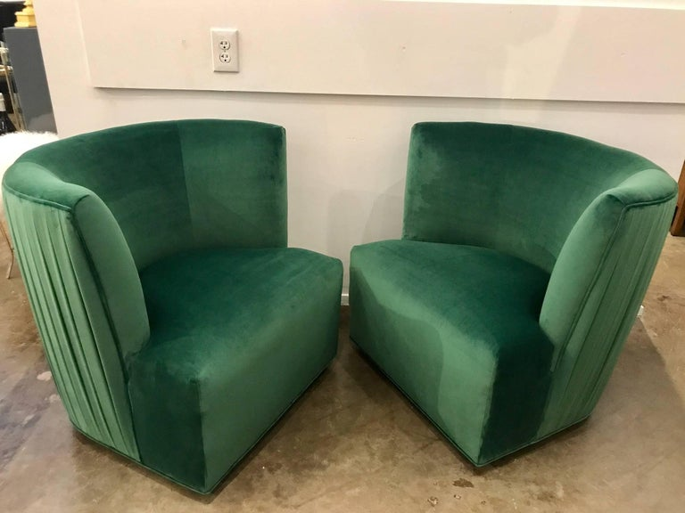 20th Century Modern Pr Of A Rudin Emerald Velvet Swivel