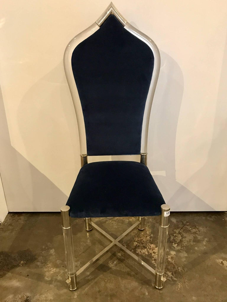 Late 20th Century Mid-Century Modern Antonio Pavia Lucite Chrome New Blue Velvet High Back Chair For Sale