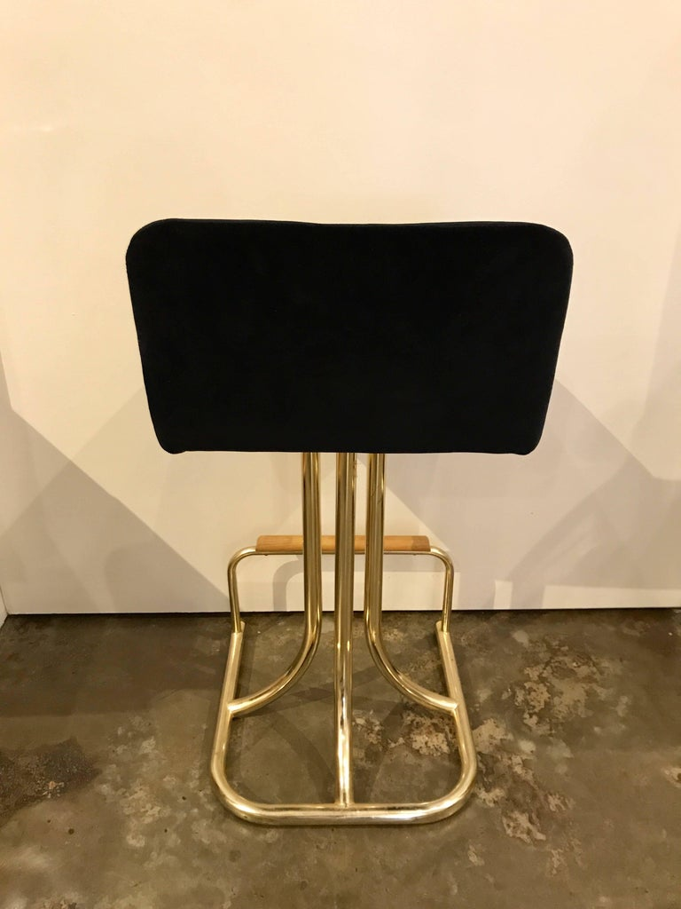 American Set of Two DIA Mid-Century Modern Black Velvet, Brass and Wood Bar Stools For Sale