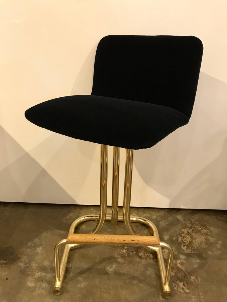 Late 20th Century Set of Two DIA Mid-Century Modern Black Velvet, Brass and Wood Bar Stools For Sale