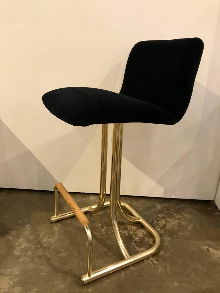Set of Two DIA Mid-Century Modern Black Velvet, Brass and Wood Bar Stools For Sale 1