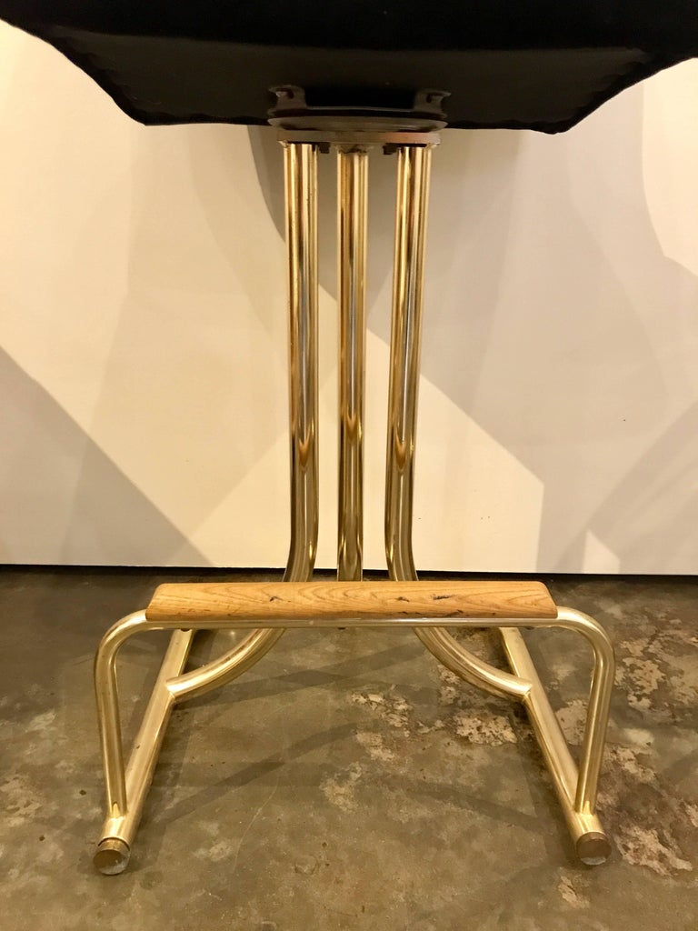 Set of Two DIA Mid-Century Modern Black Velvet, Brass and Wood Bar Stools For Sale 2
