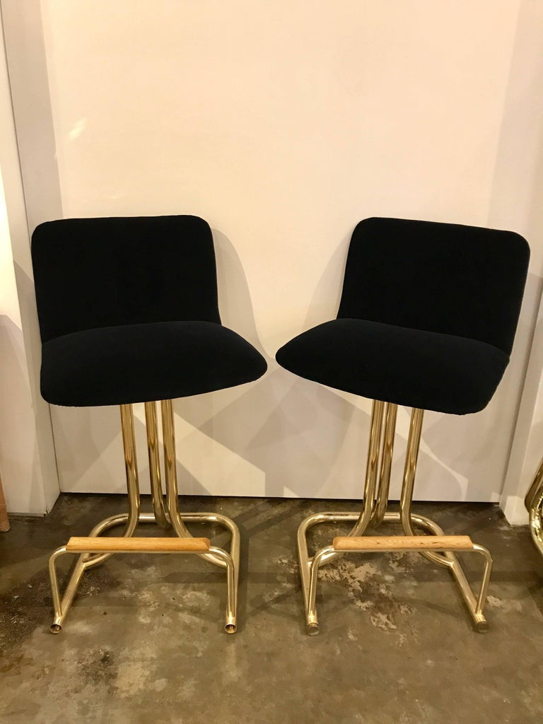 Set of Two DIA Mid-Century Modern Black Velvet, Brass and Wood Bar Stools For Sale 3
