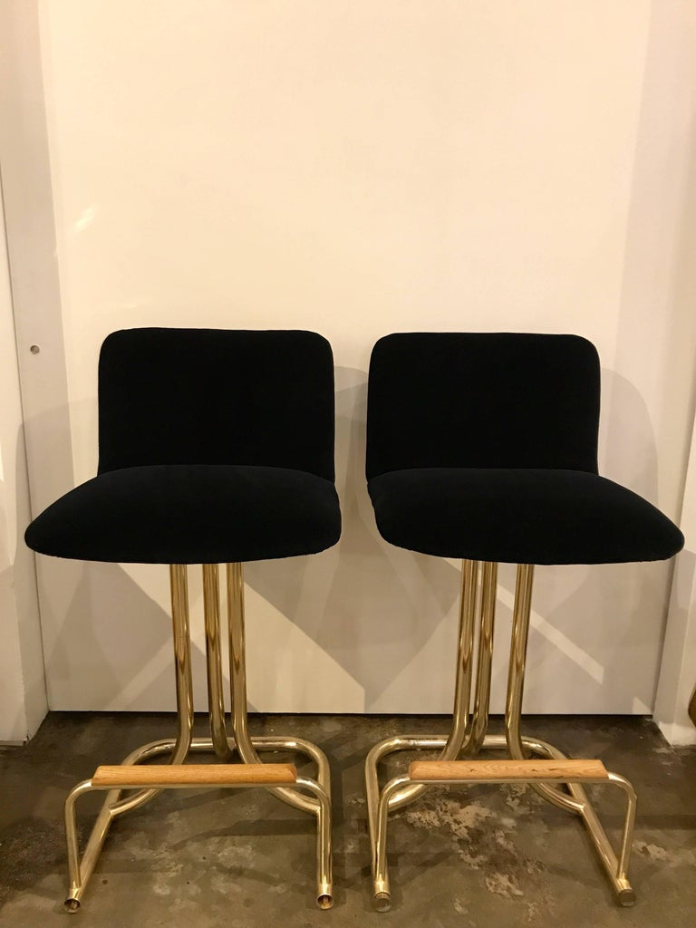 Set of Two DIA Mid-Century Modern Black Velvet, Brass and Wood Bar Stools For Sale 4