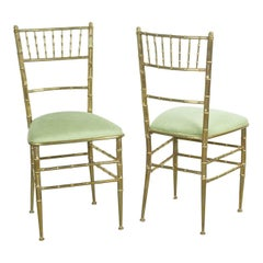 Pair of Italian Mid-Century Modern New Velvet & Brass Chiavari Chairs
