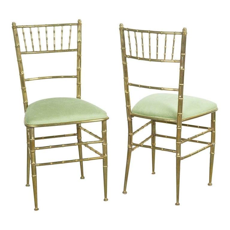 Pair of Italian Mid-Century Modern Velvet Brass Chiavari Chairs