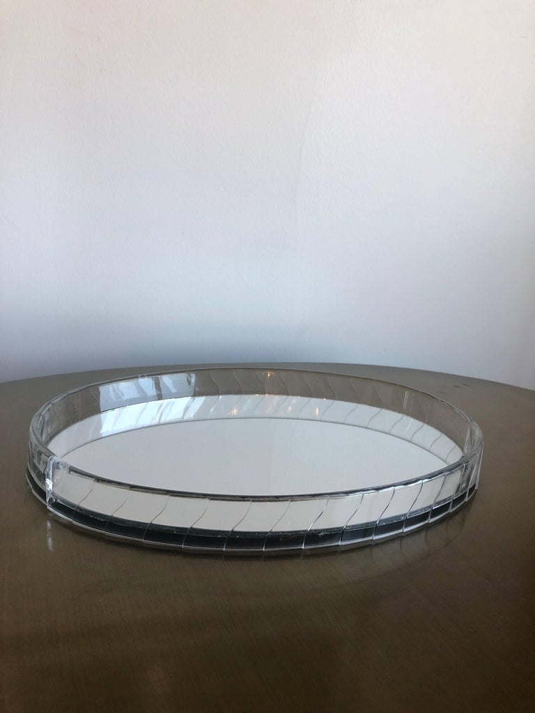 Mid Century Modern Hollywood Glam Art Deco Oval Lucite Mirrored Vanity Tray For