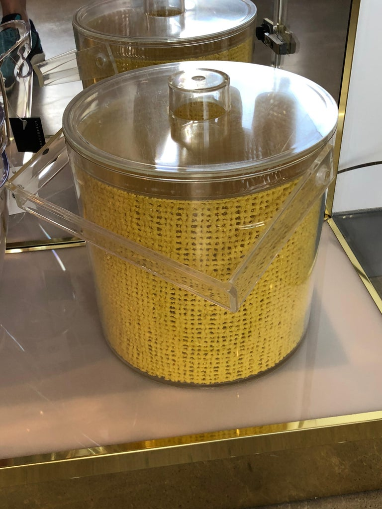 Mid Century Modern Georges Briard Embedded Raffia Lucite Covered Ice Bucket For Sale 1