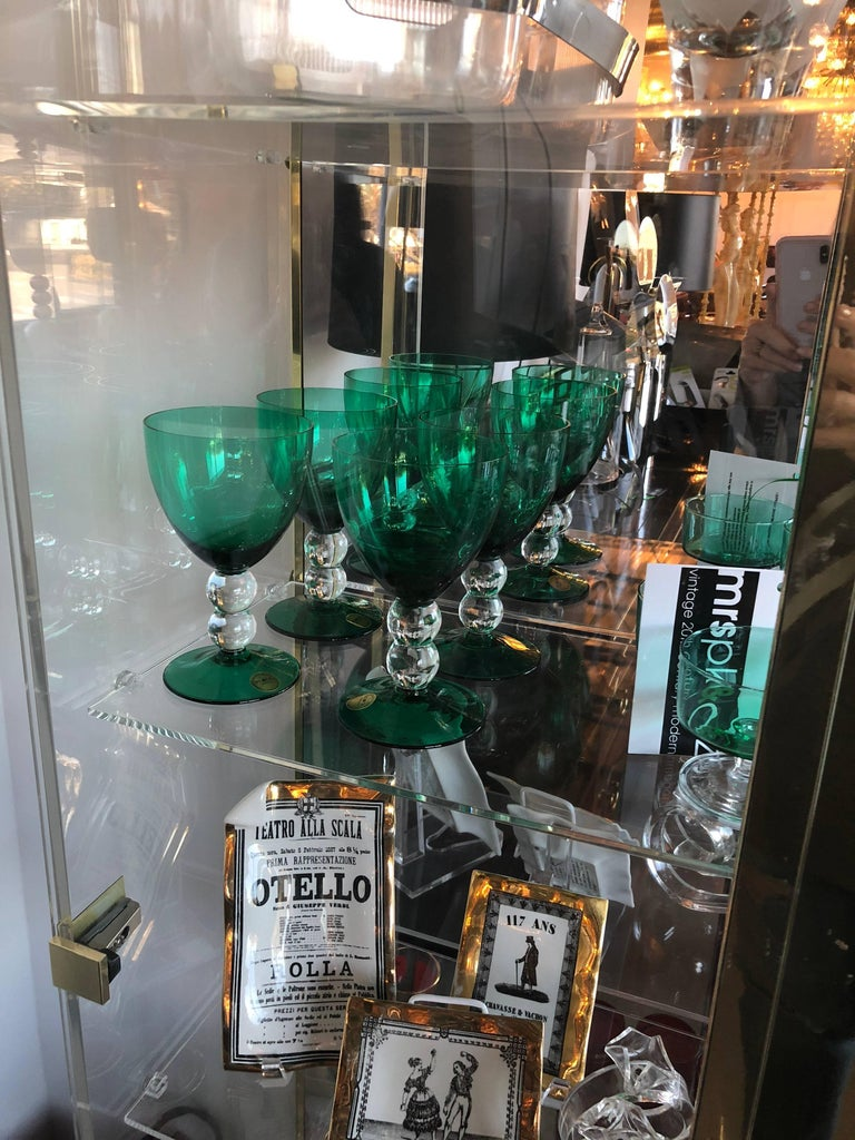 Blown Glass Emerald Green Set of 4 Handcut / Mouth Blown Goblets by